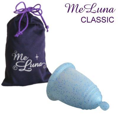 Me Luna Medium Blue Glitter Classic Menstrual Cup