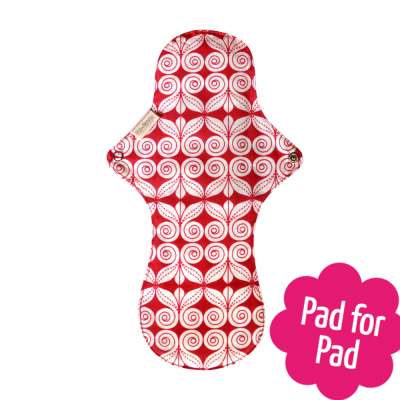 Eco Femme Red Print 100% Organic Cotton Night Pad