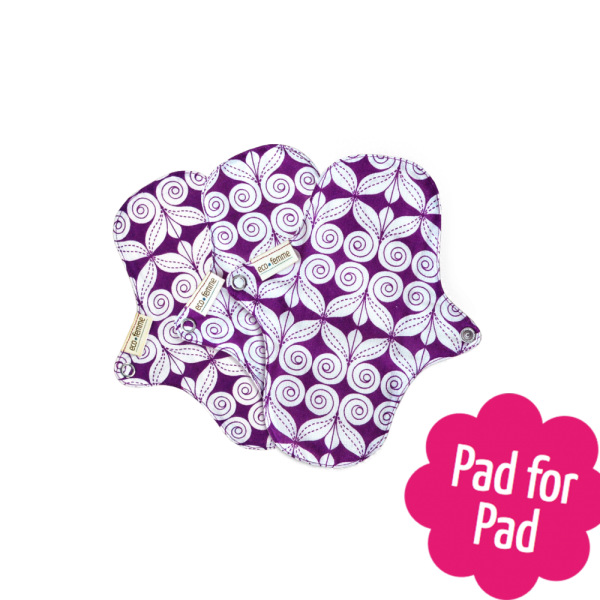 Eco Femme Purple Print 100% Organic Cotton Pantyliners no PUL (Set of 3)