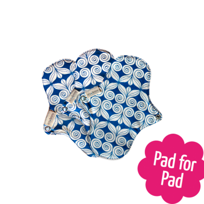 Eco Femme Blue Print 100% Organic Cotton Pantyliners with PUL (Set of 3)