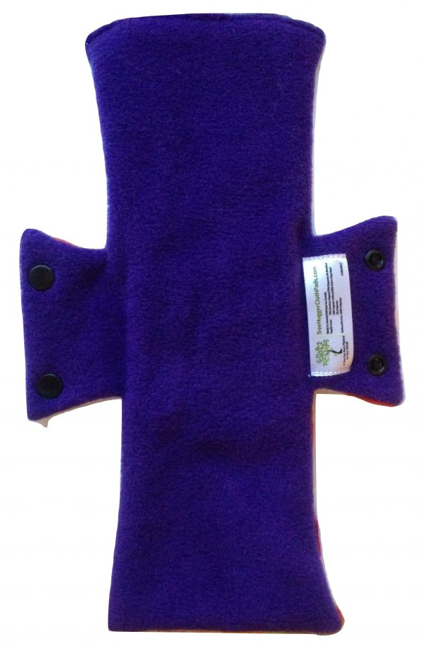 shows purple colour of back of menstrual pad