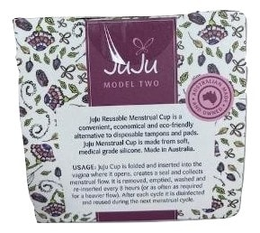 Shows top of box JuJu Menstrual Cup